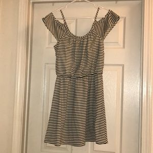 Mimi Chica off the shoulder stripped dress